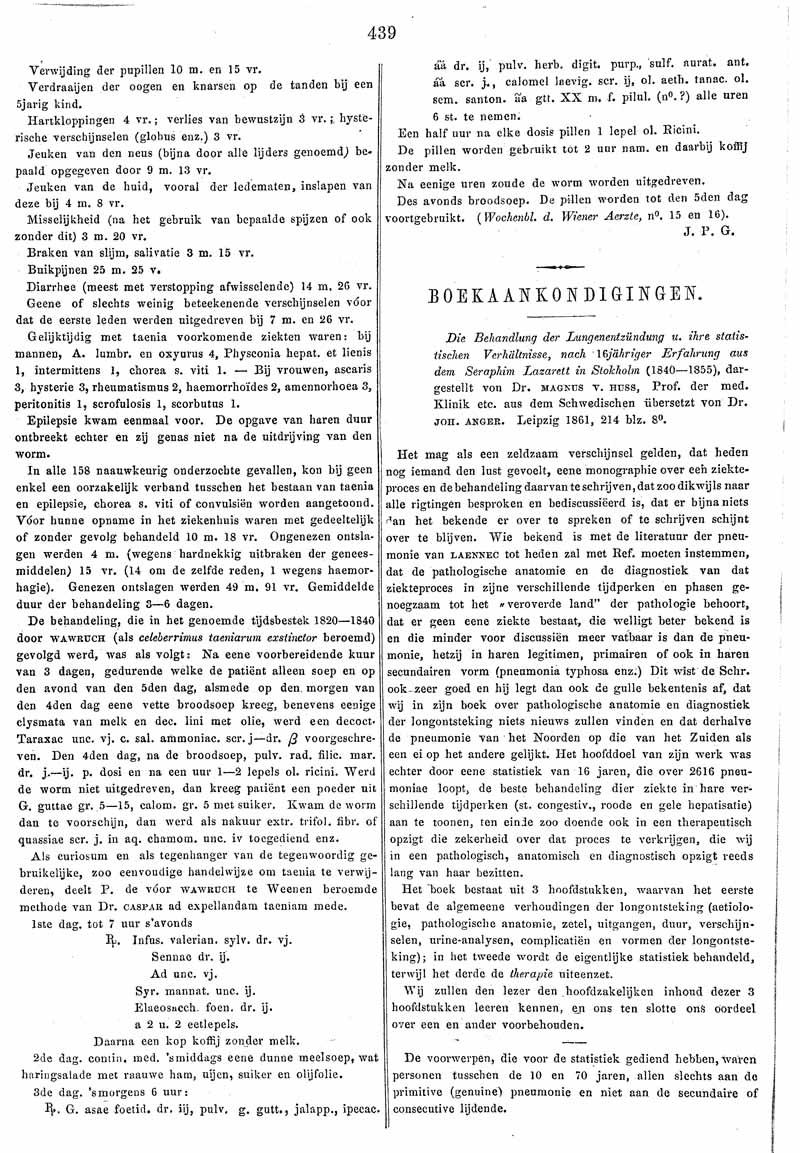 Die Behandlung der Lungenentzündung u. ihre statistischen Verhältnisse, nach 16jähriger Erfahrung aus dem Seraphim Lazaret in Stokholm (1840-1855)