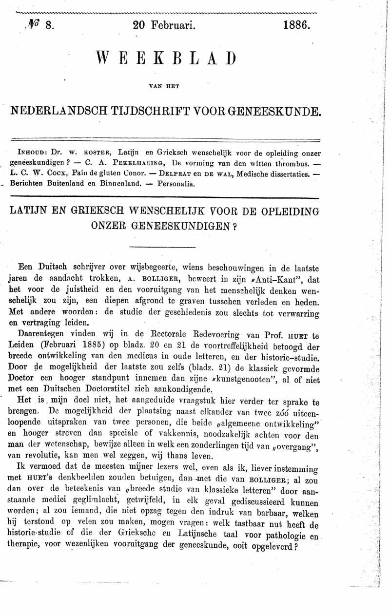 Latijn en Grieksch wenschelijk voor de opleiding onzer geneeskundigen?