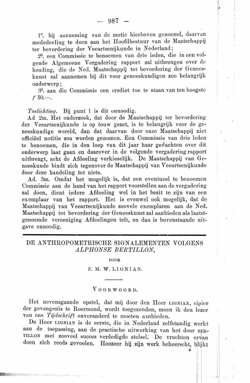 De Anthropometrische signalementen volgens Alphonse Bertillon