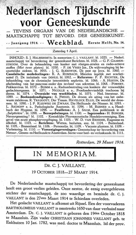 In memoriam  Dr. C.J. Vaillant 19 October 1818-27 maart 1914