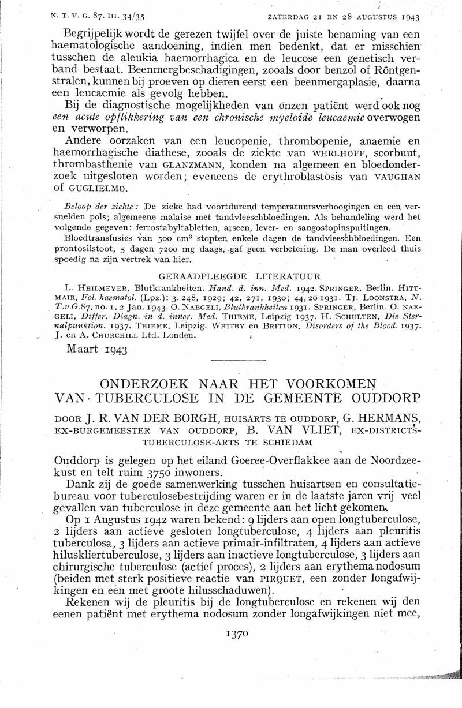 Onderzoek naar het voorkomen van tuberculose in de gemeente Ouddorp