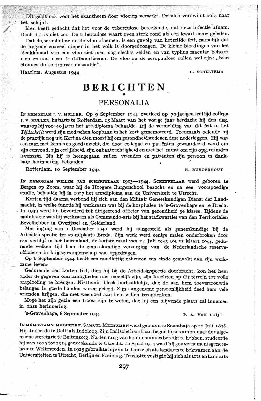 In memoriam Willem Jan Scheffelaar 1903-1944