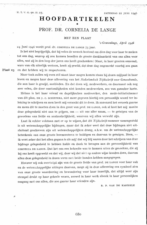 Prof. dr. Cornelia de Lange