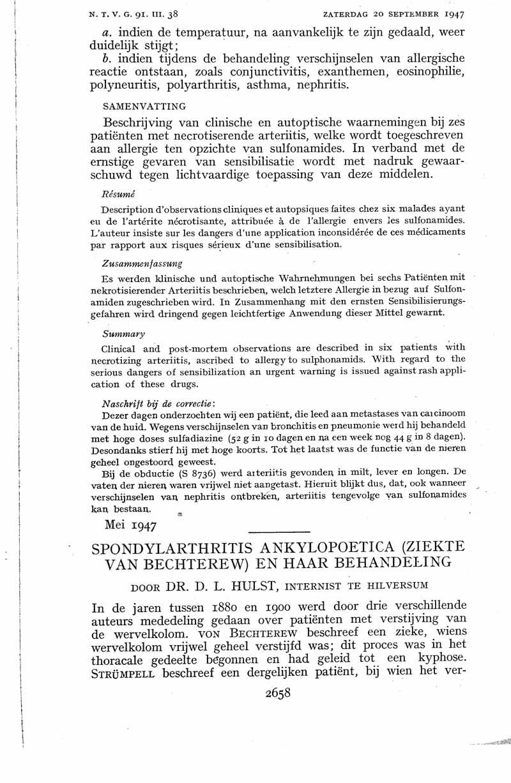 Spondylarthritis ankylopoetica (ziekte van Bechterew) en haar behandeling