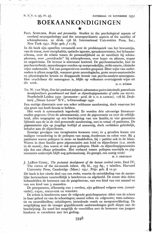 Over het syndroom polyposis adenomatosa gastro-intestinalis generalisata heredofamiliaris gecombineerd met huid- en slijmvliespigmentaties of ziekte van Peutz