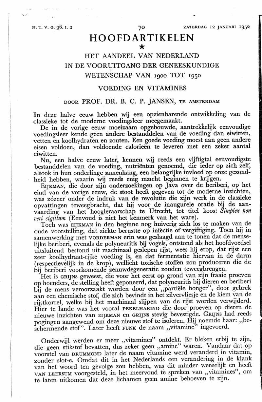 Het aandeel van Nederland in de vooruitgang der geneeskundige wetenschap van 1900 tot 1950. Voeding en vitamines