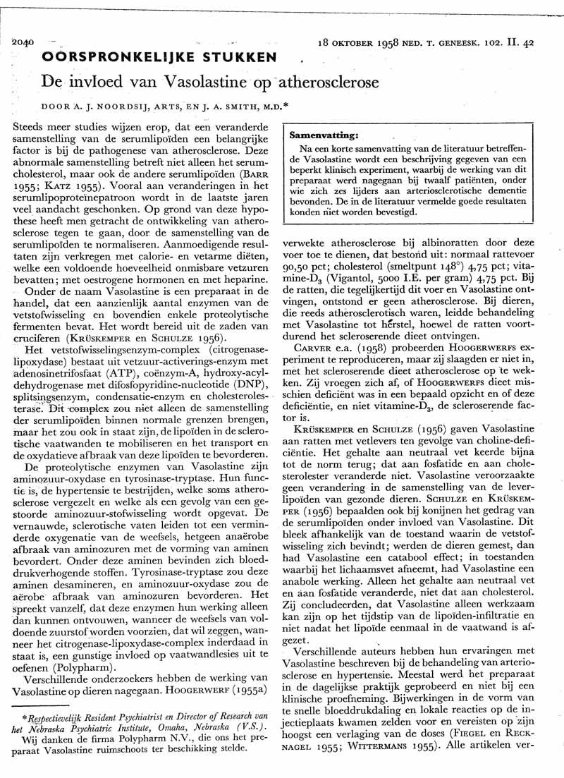 De invloed van Vasolastine op atherosclerose