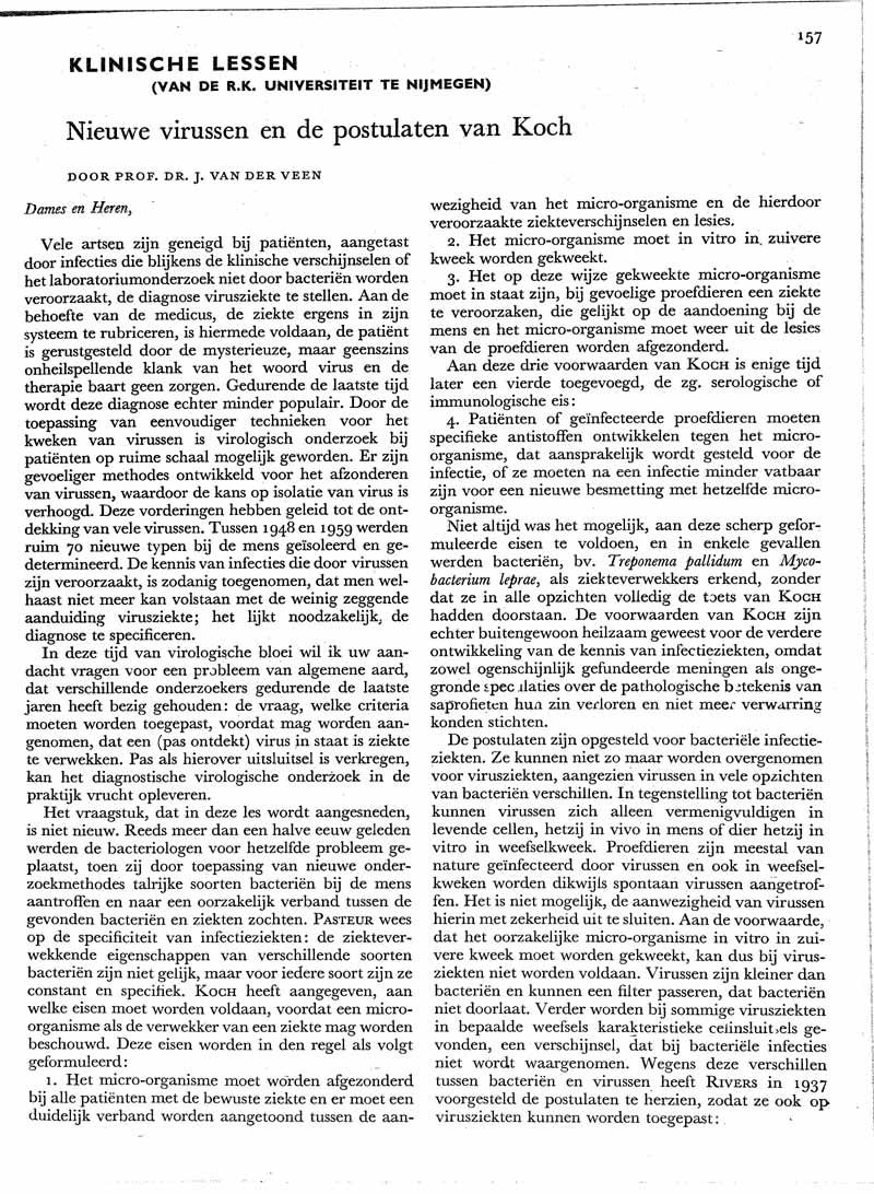 Nieuwe virussen en de postulaten van Koch