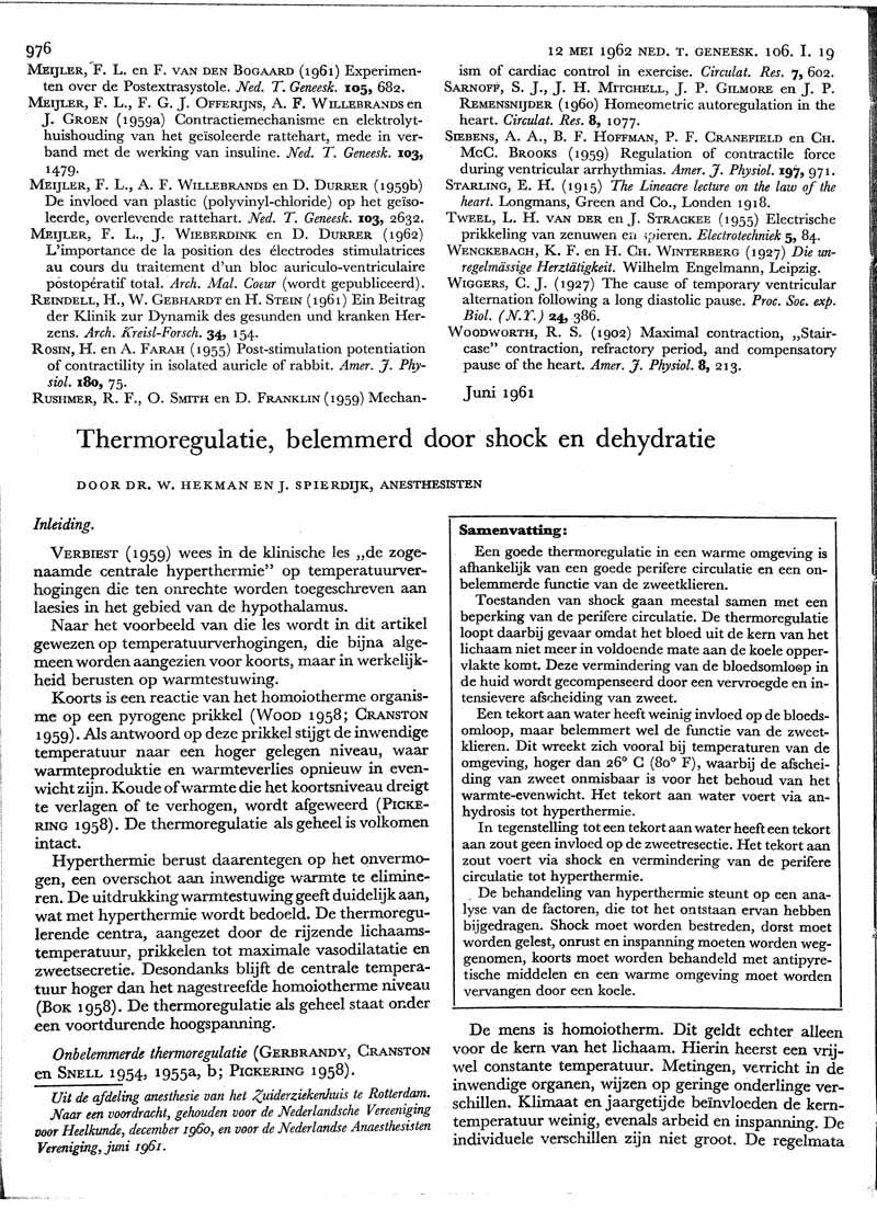 Thermoregulatie, belemmerd door shock en dehydratie