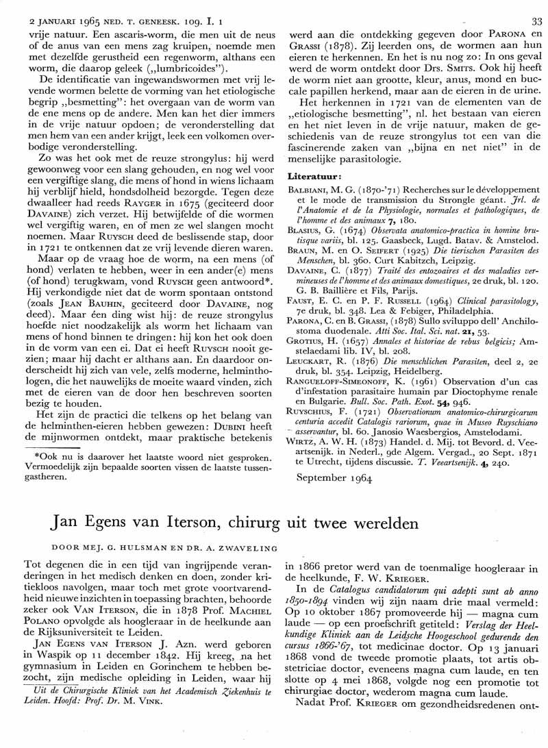 Jan Egens van Iterson, chirurg uit twee werelden
