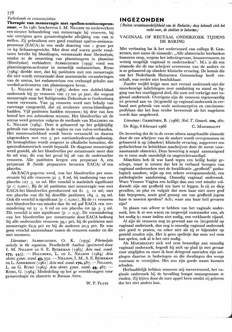 Therapie Van Menorragie Met Epsilon Aminocapronzuur Nederlands