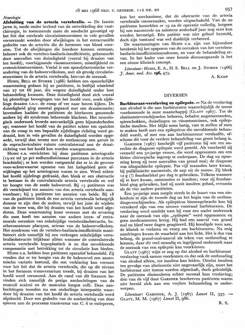 Afsluiting van de arteria vertebralis | Nederlands Tijdschrift voor ...