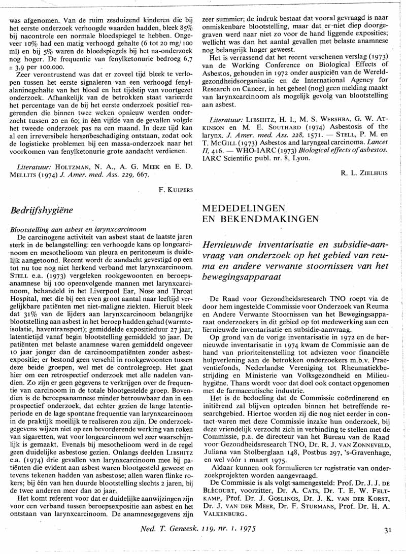 Blootstelling aan asbest en larynxcarcinoom