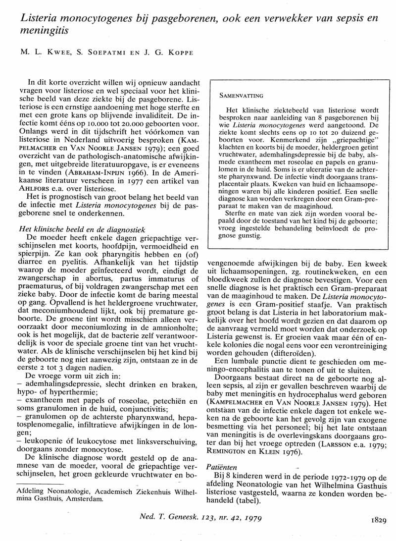 Listeria monocytogenes bij pasgeborenen, ook een verwekker van sepsis en meningitis