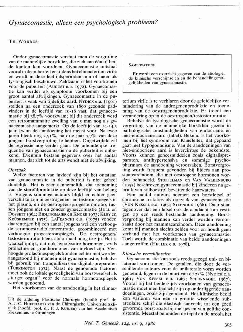 Gynaecomastie, alleen een psychologisch probleem?