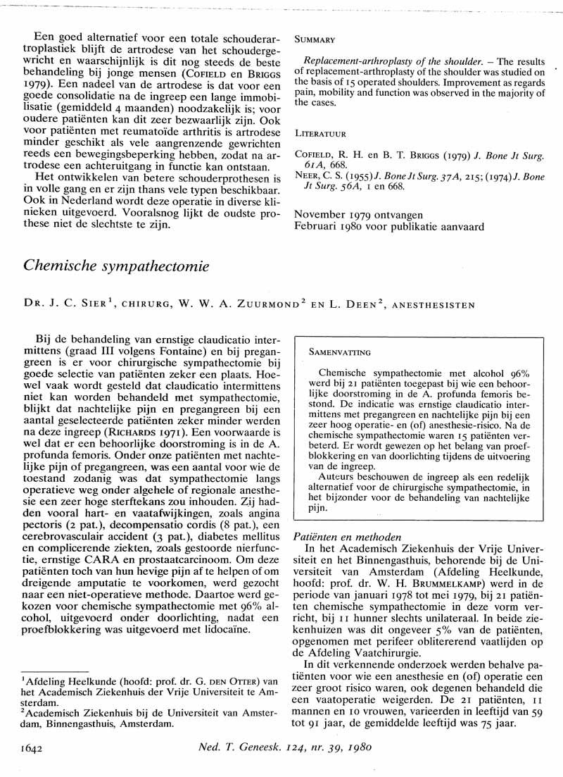 Chemische sympathectomie