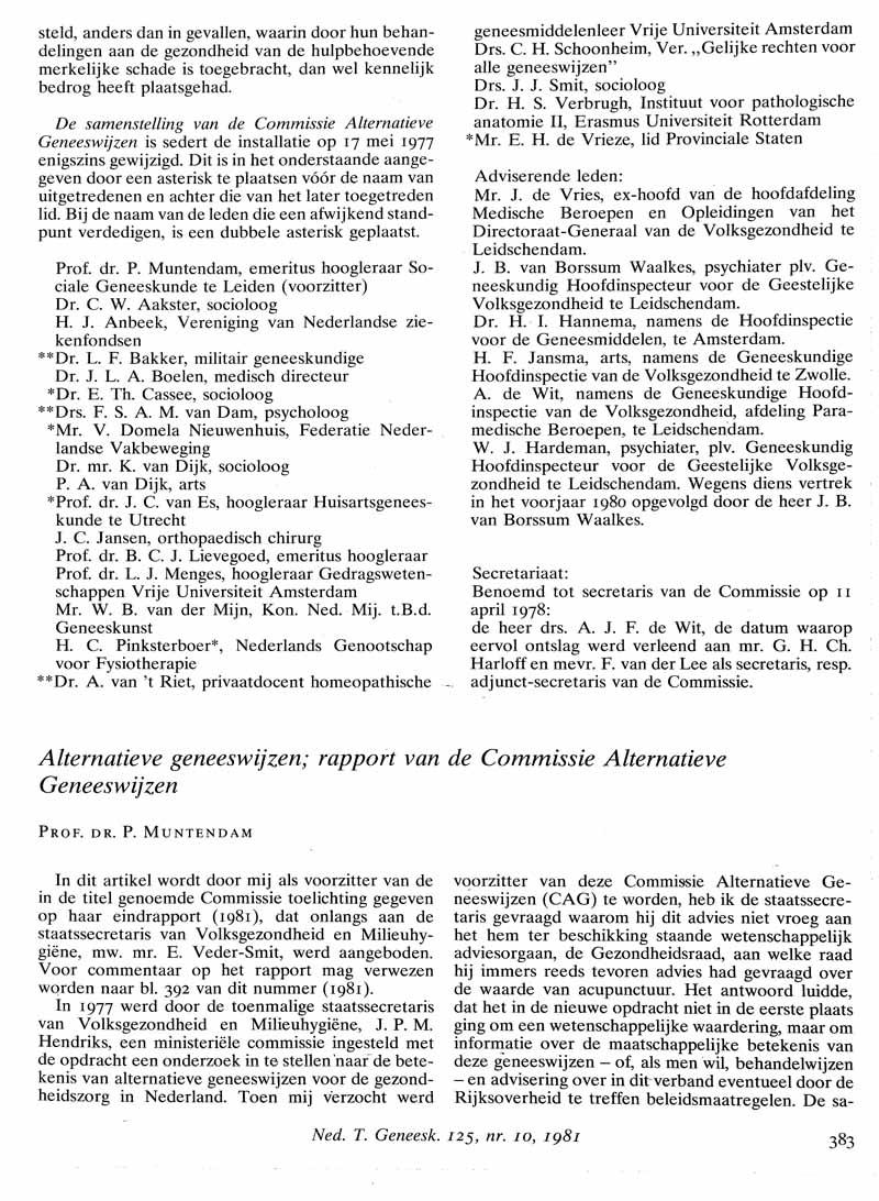 Alternatieve geneeswijzen; rapport van de Commissie Alternatieve Geneeswijzen