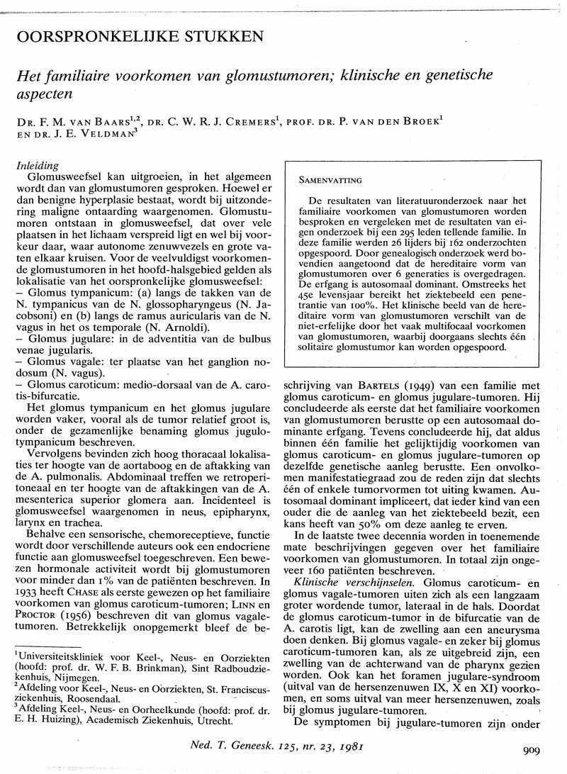 Het familiaire voorkomen van glomustumoren; klinische en genetische aspecten