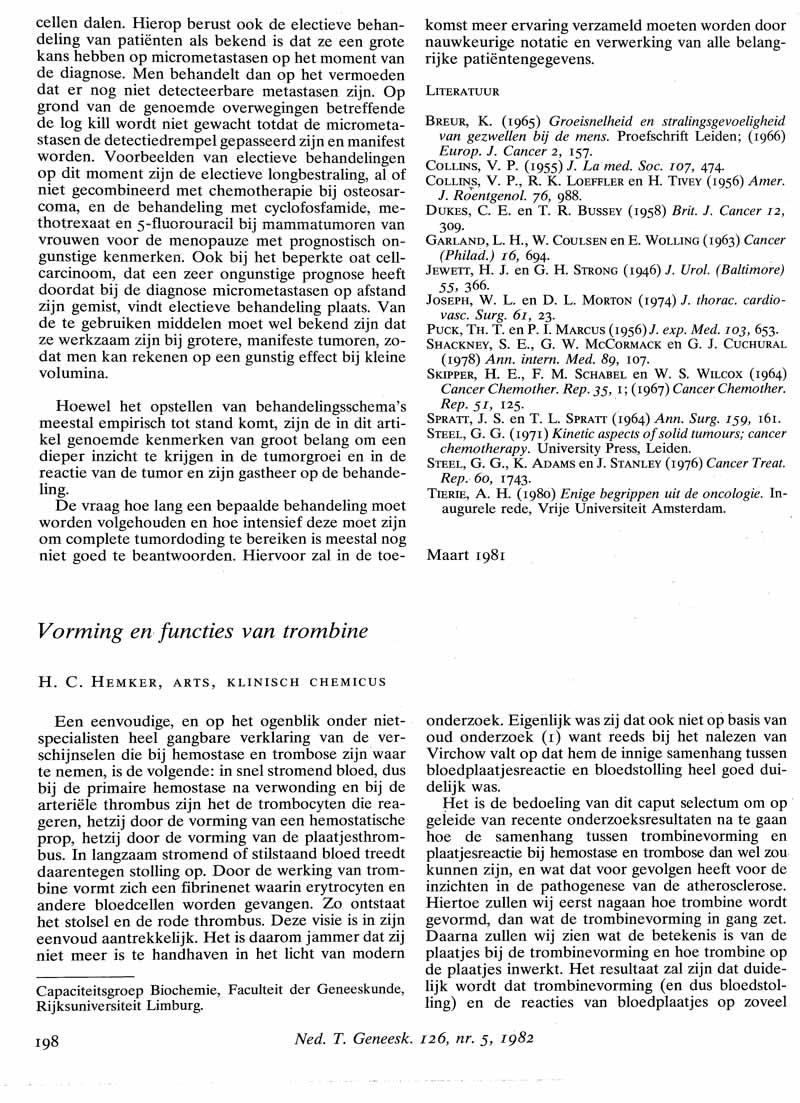 Vorming en functies van trombine