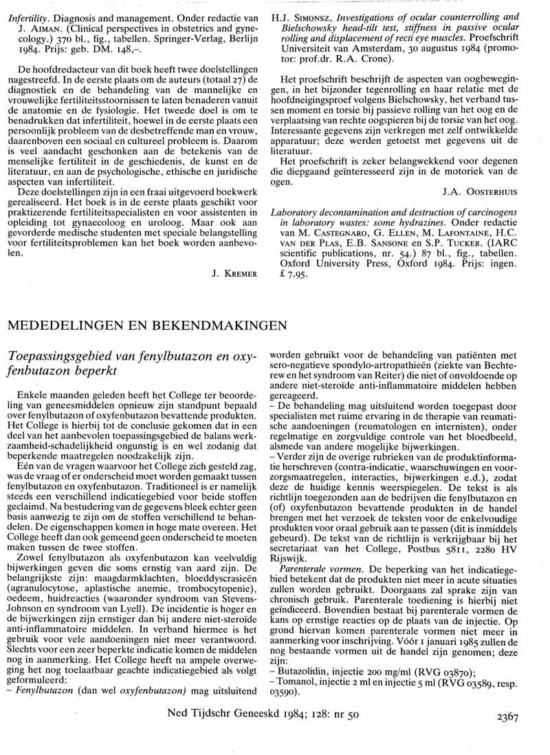 Toepassingsgebied van fenylbutazon en oxyfenbutazon beperkt