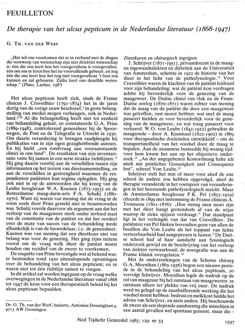 De therapie van het ulcus pepticum in de Nederlandse literatuur (1868-1947)