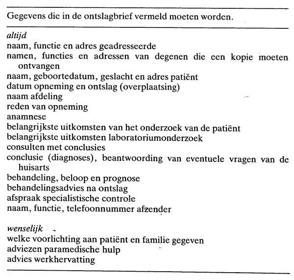 ontslagbrief datum De ontslagbrief | Nederlands Tijdschrift voor Geneeskunde ontslagbrief datum